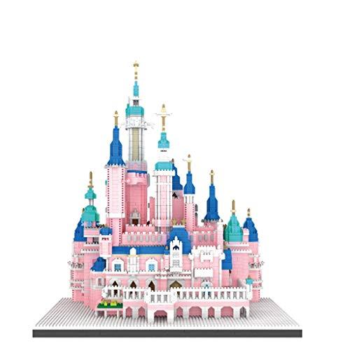 Nieuw-micro Boren Klein Deeltje Bouwstenen Puzzel Assemblage, De Decompressie Kinderen Speelgoed Geschenk, Roze Kasteelpark Gebouw (Color : A)