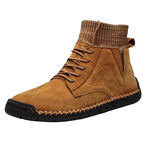 Herren Stiefel Winter Ankle Boots Vintage Combat Boots Freizeitschuhe Wildleder Stiefeletten Atmungsaktiv Socks Schnürstiefel Locomotive Tooling Schlupfstiefel Warmhalten Fleece Gefüttert Schneeschuhe