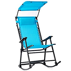 Folding Rocking Chair Porch Zero Gravity Furniture W/Canopy Light Blue-Nursery Rocking Chair-Rocking Chair for Baby-Glider Planes for Kids