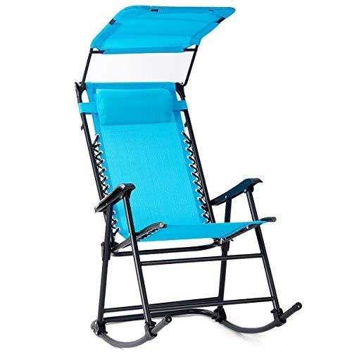 Heize best price Blue Folding Rocking Chair Rocker Porch Zero Gravity Furniture W/Canopy Light Recliner Yard Garden Pool(U.S. Stock)
