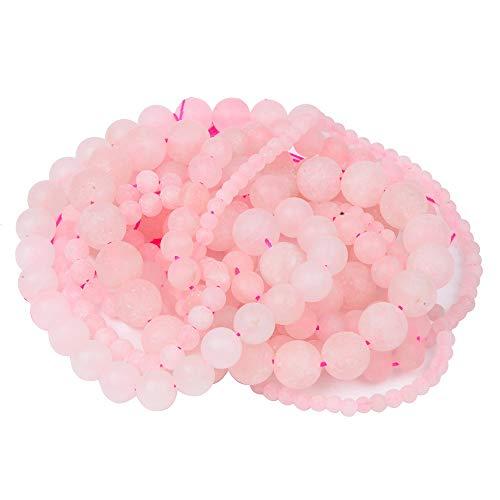 JIANDONG Piedra Natural Mate Rosa Bolas De Cristal Rose Cuarzos Granos De La Pulsera De Los Granos Flojos Redondos Haciendo Elige ( Color : Matte Pink Quartz , Size : 4mm About 92pcs )