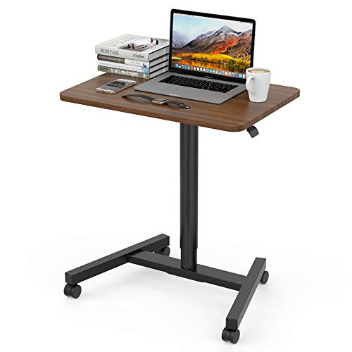 28 Inch Height Adjustable Laptop Sit to Stand Desk with Wheels, Adjustable Rolling Standing Laptop Mobile Desk Cart Coffee Table