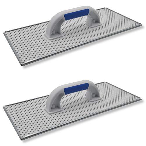 2er Set DEWEPRO® WDVS + Porenbeton Schleifbrett - Raspelbrett mit verzinktem Stahlblech-Raspelbelag - 400x180mm - Egalisierungsbrett - Schleifer - WDVS-Schleifer - Handschleifer