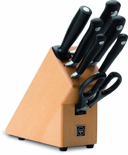Wüsthof Messerblock, Grand Prix II (9851-2), 7-teilig, aus Buchenholz, mit 5 Kochmessern, Schere, Wetzstahl, Küchenmesser-Set geschmiedet