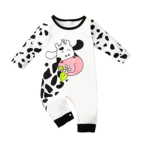 Alunsito Bebé Niño Bebé Ropa De Manga Larga Mameluco De Impresión De Vaca Mono De Cierre De Cierre De Una Pieza Traje De Otoño, blanco, 9 mes