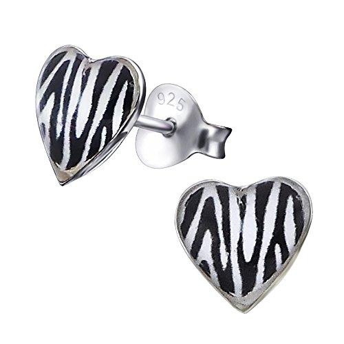 Laimons Damen-Ohrstecker Herz weiß schwarz Zebra Design Sterling Silber 925