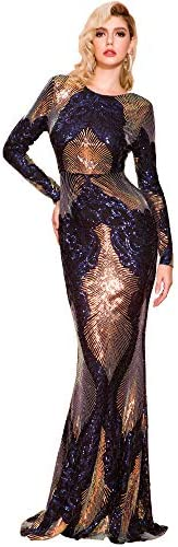 Miss ord Women Long Sleeve Backless Sequin Gown Female Maxi Elegant Dress Multi L product image