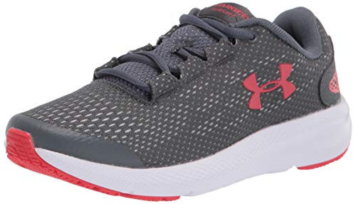 Under Armour Unisex-Kinder Grade School Charged Pursuit 2 Laufschuhe, Pechgrau/ Weiß/ Versarot (102), 38 EU