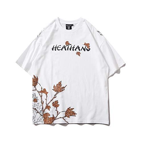 DREAMING-Sudadera de Manga Corta de Verano con Estampado de Carpa, Camiseta de algodón con Cuello Redondo y Estampado Suelto, Camiseta para Parejas para Hombres y Mujeres L