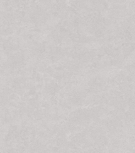Rasch Tapeten 445831 Grau mit körniger Putz-Struktur-10,05m x 0,53m (LxB) Vlies Tapete Rasch Kollektion Factory III, Hellgrau, 10,05 x 0,61