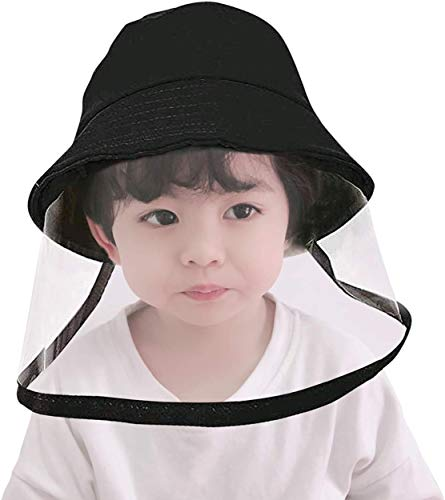 PokiPlex Boys & Girls Detachable Kids Face Cover Shield Bucket Hat Visor Cap (Upgrade) Dustproof Anti-Fog Anti-Saliva Anti-UV and Sunburn Protection Black