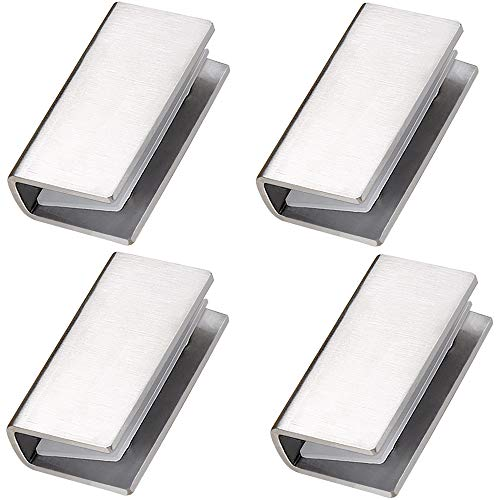DOKU 4Pcs Adjustable 304 Stainless Steel Glass Clip Clamp Support 0.32'(8mm)-0.48'(12mm) Glass Shelf Brackets, Space Saving Bathroom Wall Mounted, Brushed Finished