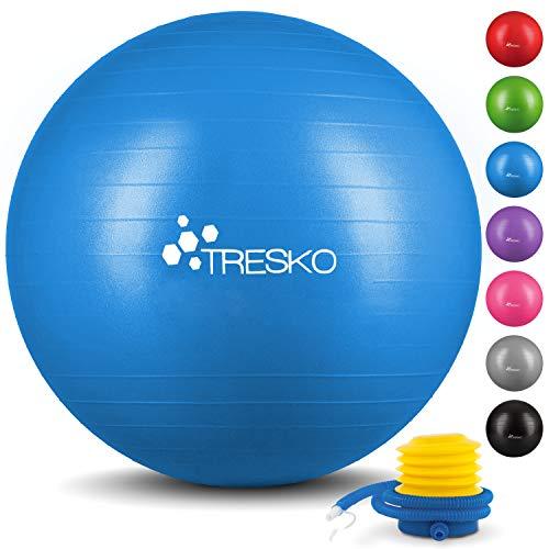 TRESKO Anti-Burst Gymnastikball 55cm 65cm 75cm 85cm | Sitzball | Yogaball | 300 kg | mit Luftpumpe...