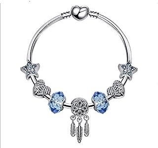 Qings Womens Silver Tone Snake Chain Blue Glass Bead Dreamcatcher Charm Bracelet 18cm