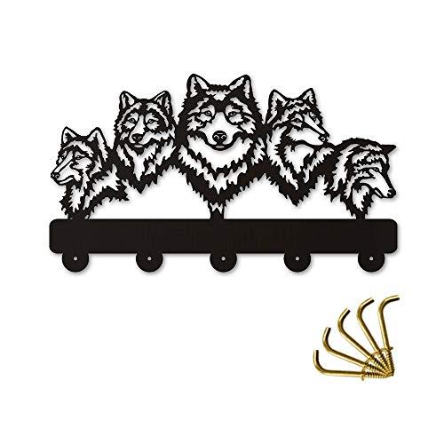 Joeesun 1 pieza de vida silvestre lobo decorativo colgador de pared lobo familia ropa ganchos de pared perchero llaves organizador titular gancho