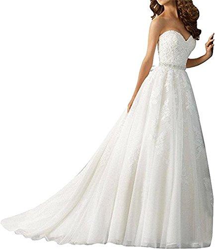 Cloverbridal Spitze Herzausschnitt Hochzeitskleider Brautkleider Brautmode Prinzess A-Linie Rock mit lang Schleppe