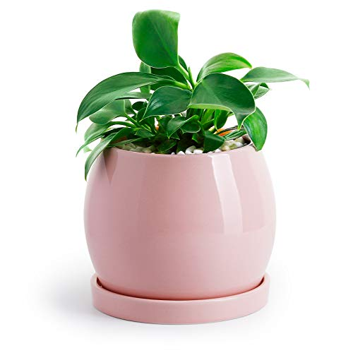 "POTEY Ceramic Planter Flower Plant Pot - 5.1"" with Drain Hole Saucer-Enough Space - Modern Decorative for Indoor Planters-Light Pink"
