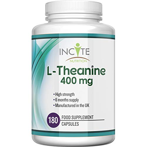 L Theanine 400mg | 180 Premium Capsules (6 Month's Supply) 1 a Day Capsule Serving | High Strength L Theanine Capsule | ltheanine Made in The UK by Incite Nutrition
