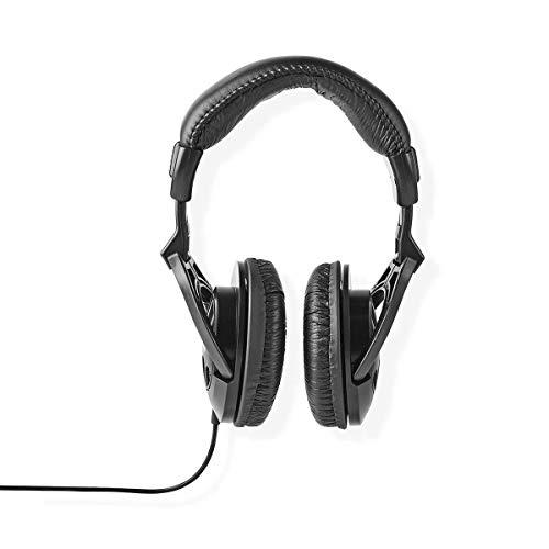 Nedis - Cuffie over-ear - Cablato da 2,50 m - Per DJ semi-professionali, produttori e/o amanti della musica - Controllo volume - 1 x connettori da 3,5 mm - Nero