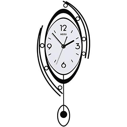 Reloj de Pared Grande, Estilo nórdico Minimalista, Diseño de Columpio Irregular, Moderno Decorativo para Cocinas, Dormitorios, Oficinas, Sala, Blanco y Negro