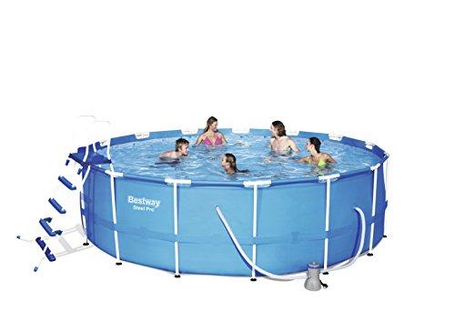 Bestway Steel Pro Frame Pool Komplettset rund, mit Kartuschenfilterpumpe, Leiter, Boden- und Abdeckplane, 457x122 cm, blau
