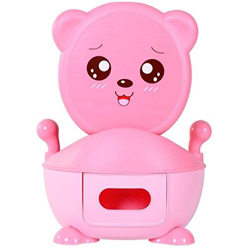 COSTWAY Toilette per Bambini apprendimento vasino per Toilette, Cartone Animato e plastica Ecologico, Colore Scelta (Rosa)