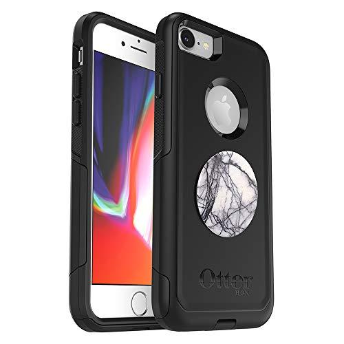 B&le: OtterBox Commuter Series Schutzhülle für iPhone SE (2. Generation - 2020) und iPhone 8/7 (Nicht Plus) – (schwarz) + PopSockets PopGrip – (Taube White Marmor)