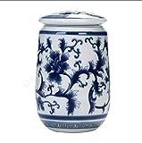 DIBAO Retro Palace - Tarro de té de porcelana azul y blanco para almacenamiento de té, frasco cuadrado para té, decoración de mesa de té (color: 1)