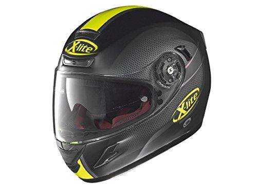 X-lite X-702GT - Casco integrale per moto, in fibra composita, colore: nero opaco, giallo, taglia L