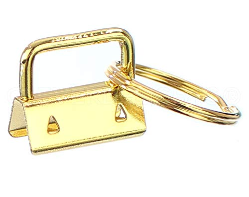 """25 Pack - CleverDelights 1"""" Key Fob Hardware Set with Key Rings - Gold Color - for Lanyards Key Chain Wristlets - 1 Inch"""