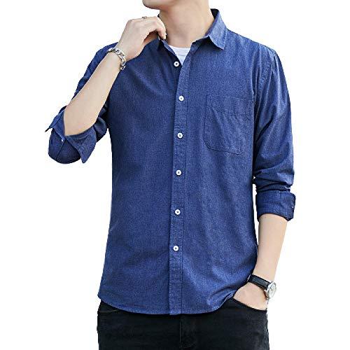 Camisa de Manga Larga para Hombre Color sólido Ajuste Relajado Moda Transpirable Un Solo Bolsillo Camisa clásica Informal con Botones Medium