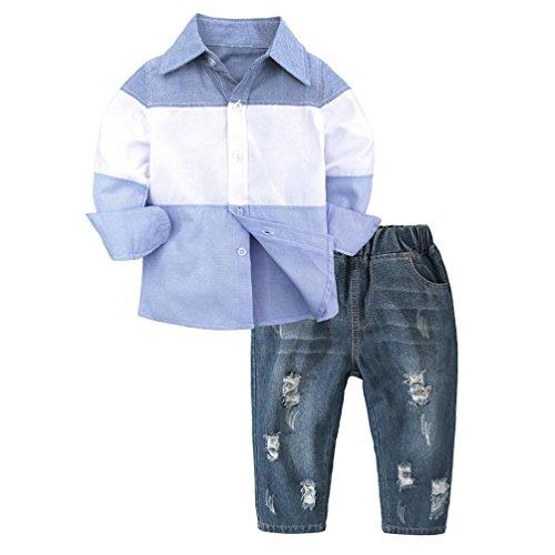 Hirolan Säugling Baby Bluse+Hosen Kleinkind Jungen Babykleidung Gentleman Gestreift T-Shirt Oberteile Denim Hose Outfits Kinderbekleidung Jogginganzug (110, Blau)