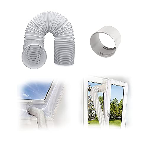 Klima Abluftschlauch+ abluftschlauch adapter,Klimaanlage Schlauch Verlängerung, Ø 130 / 150mm flexibel PVC Schlauch, für 100er Klimaanlage Wäschetrockner Dunstabzugshaube mit Schellen (2m x Ø130mm)