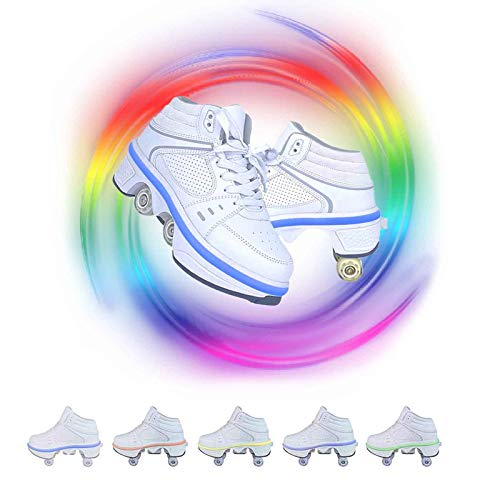 Patines con Ruedas Deformables Zapatos Multiusos 2 En 1 Hombres Mujeres De Deporte Casuales Patines para Caminar Patines En Linea Nina,WhiteHighTop,42