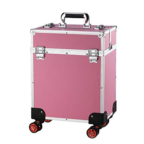 BMUC Estuche de Maquillaje Maleta Beauty Case Profesional Maletín de cosméticos peluquería Multiusos Tipo Trolley Varios Niveles con 4 Ruedas giratorias,Pink