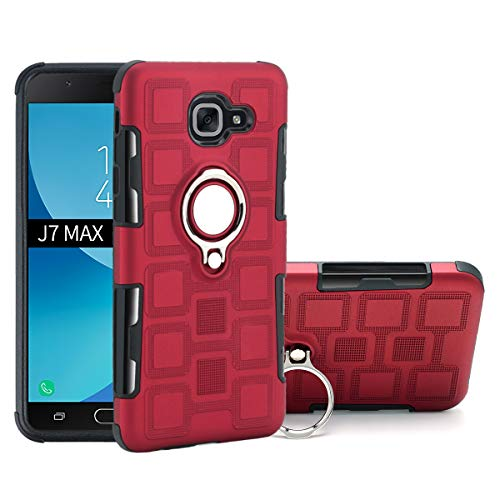 Stengh Funda para Samsung SM-G615F/DS Galaxy J7 MAX 2017 SM-G615F/DD Case Cover .Rotating Bracket + Car Bracket Magnetic Absorption Red