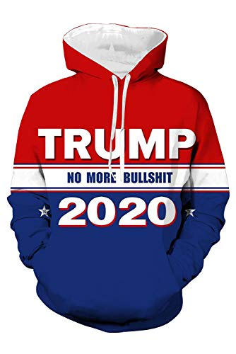 Bilicos Kapuzenpullover Sweatshirt Hoodie Print Tops Jacke Pullover Sweatjacke Outwear Trump (Brustumfang 116cm)