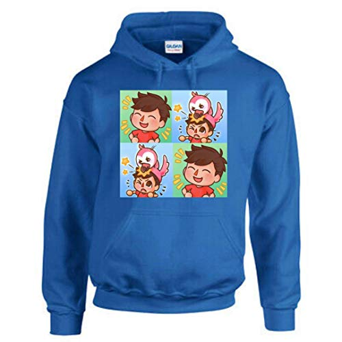 TAQ-SPORTS AlbertsStuff Flamingo Funny and Novelty Design Hooded Hoddie for Kids and Adult (XS, 12/14) Blue