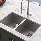 ASTER 37x18, High Grade, Stainless Steel Double Bowl Satin Matt Handmade Kitchen Sink (37X18X10-Inch, Silver, Square Coupling)