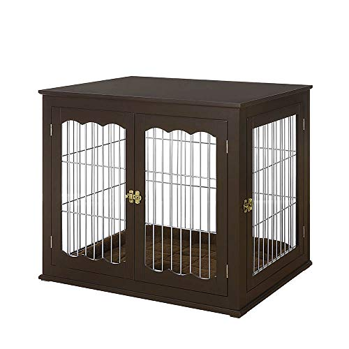 unipaws Pet Crate End Table with Cushion, Wooden Wire Dog Kennels with Double Doors, Modern Design Dog House, Medium and Large Crate Indoor Use, Chew-Proof (Large, Espresso) Crates Furniture-Style