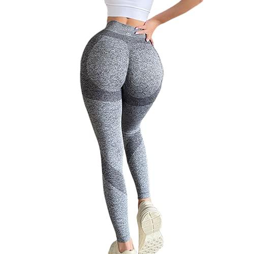QTJY Pantalones de Yoga sin Costuras para Gimnasio para Mujeres, Pantalones de Fitness para Estiramiento de Cadera y Estiramiento de Ejercicio Push-up de Gimnasio, CS