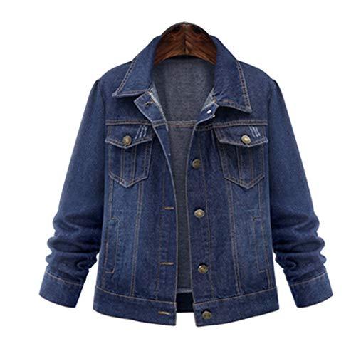 BOLANQ Mantel Jacke Coat Outwear Sweatshirt Parka Hoodie, Wäsche der Frauen Reine Farben die alte Knopf-lose Größen-Jeans-Jacken-Oberseiten(X-Large,Blau)