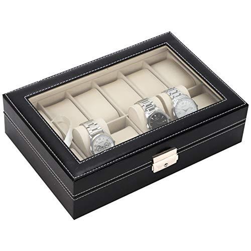 Tallgoo Caja de Relojes con 12 Compartimentos, Estuche/Guarda Relojes con Tapa de Cristal Negro de Piel sintética,Estuche de Joyeria para Organizadora y Exhibición
