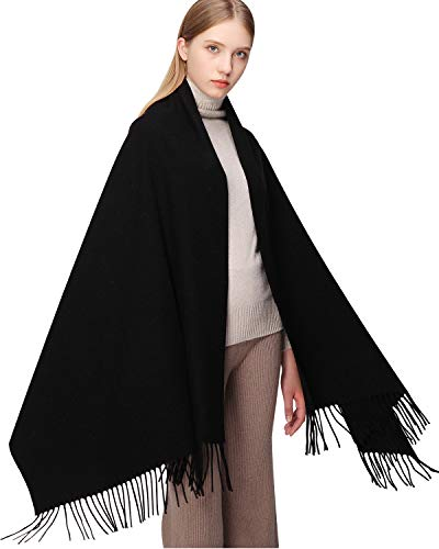 100% Wool Scarf Pashmina Shawls and Wraps for Women Cashmere Warm Winter More Thicker Soft Scarves Black