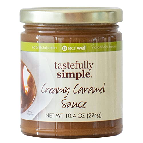 Tastefully Simple Creamy Caramel Sauce - Pairs with Apples, Marshmallows, Pound Cake, Drizzle over Ice Cream - 11 oz