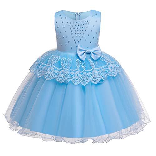 Deloito Baby Tochter Prinzessin Kleider Kinder Mädchen Elegante Brautkleider ärmellose Rüschen Schleife Abendkleid Spitzen Tüll Naht Hochzeits Party Kleid (Hellblau,2-3 Jahre)