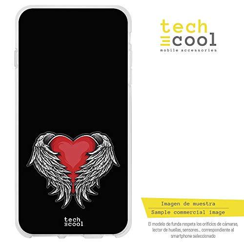 Funnytech® siliconen beschermhoes voor Asus ZenFone 3 5,2 inch ZE520KL [flexibele siliconengel, exclusief design] design tattoo hart met vleugels achtergrond zwart