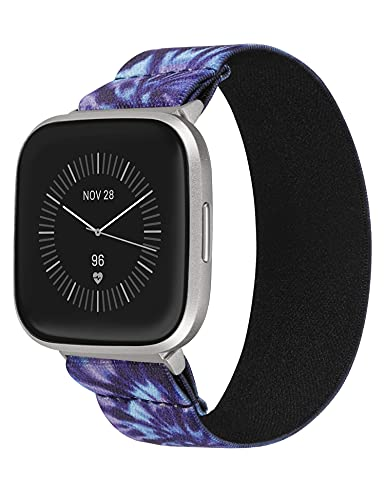 TOYOUTHS Elastic Band Compatible with Fitbit Versa/Versa 2 Scrunchie Bands Fabric Nylon Sport Stretchy Strap Fashion Versa Lite Special Edition Wristband Women Men (Tie Dye Blue Purple, Small)