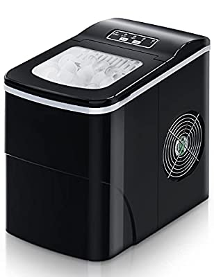 Ice Maker Machine for Countertop, FREE VILLAGE 9 Cubes Ready in 6-8 Mins, 26Lbs/24H Portable Ice Makers,Compact Ice Cube Maker with Ice Scoop and Basket,Ice Making Machine for Home/Office/Bar, Black…
