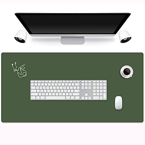 Ruby Lil Almohadilla De Ratón del Escritorio del Laptop De Cuero De La PU, La Estera del Mouse del Teclado, La Almohadilla De Escritorio De Doble Cara,Dark Green + Silver,24'x 12'